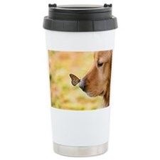 Butterfly on Golden Ret Travel Coffee Mug