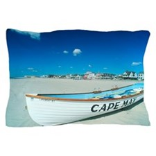 'Life boat on a beach in Cape May, New Pillow Case