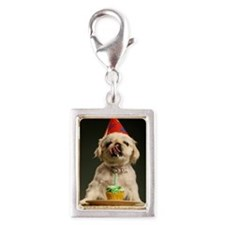 Dog with a cupcake likcing i Silver Portrait Charm