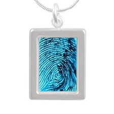 Fingerprint on blue back Silver Portrait Necklace