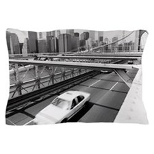 Taxi on Brooklyn Bridge, New York, USA Pillow Case