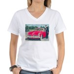 Red 1953 Studebaker on Women's V-Neck T-Shirt
