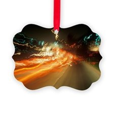 Time exposure of highway lights a Ornament