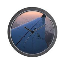 Airplane Wing and Sunset Wall Clock