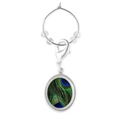 Peacock Feathers Oval Wine Charm