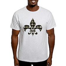 Gold and Black Fleur de lis T-Shirt