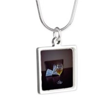 Book and wine Silver Square Necklace
