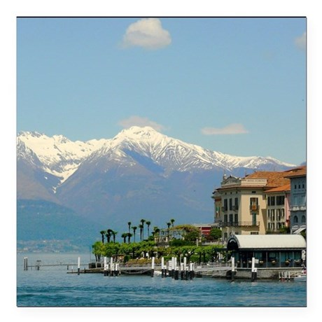 "Lake Como with alps Square Car Magnet 3"" x 3"""