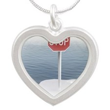 Stop sign on a melting icebe Silver Heart Necklace