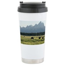 Bison grazing Travel Coffee Mug