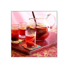 """Sangria with red wine and f Square Sticker 3"""" x 3"""""""