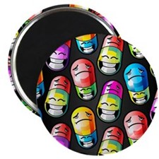 Pills with happy and sad faces on them Magnet