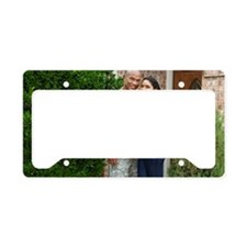 Smiling soldier and wife hugg License Plate Holder