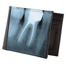 X-ray of human teeth. There is a leani Mens Wallet