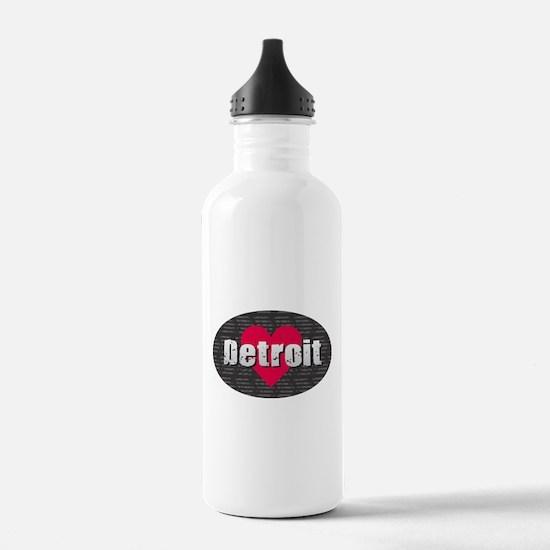 Detroit w Heart Water Bottle