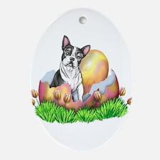 Boston Terrier Easter Oval Ornament
