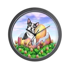 Boston Terrier Easter Wall Clock