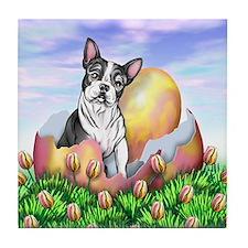 Boston Terrier Easter Tile Coaster