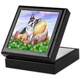 Boston terrier easter Square Keepsake Boxes