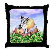 Boston Terrier Easter Throw Pillow