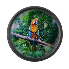 Martinique Macaw Large Wall Clock