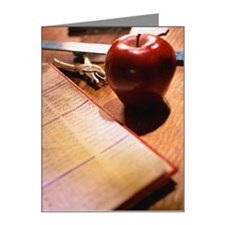 Attendance list, apple, hole Note Cards (Pk of 10)