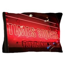 Times Square sign at night, New York C Pillow Case