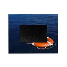 Round life preserver floating in wat Picture Frame