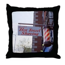 Sign for Hot Towel Shaving barbershop Throw Pillow