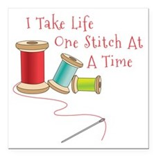 """One Stitch at a Time Square Car Magnet 3"""" x 3"""""""