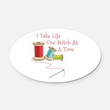 One Stitch at a Time Oval Car Magnet