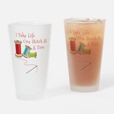 One Stitch at a Time Drinking Glass