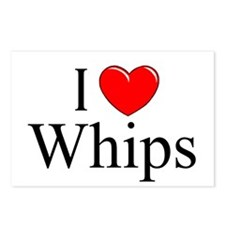 """""""I Love (Heart) Whips"""" Postcards (Package of 8)"""