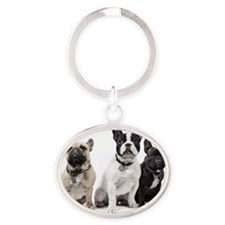 Male  and  two female French Bulldog Oval Keychain