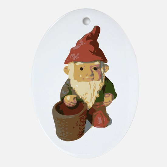 Retro Lawn Gnome Oval Ornament