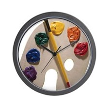 Palette and paintbrush Wall Clock