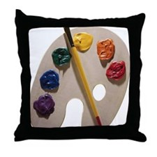 Palette and paintbrush Throw Pillow
