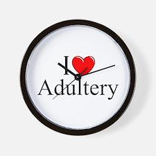 """""""I Love (Heart) Adultery"""" Wall Clock"""