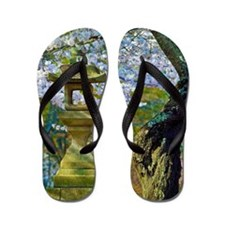 Cherry blossoms, stone lantern, Japan Flip Flops