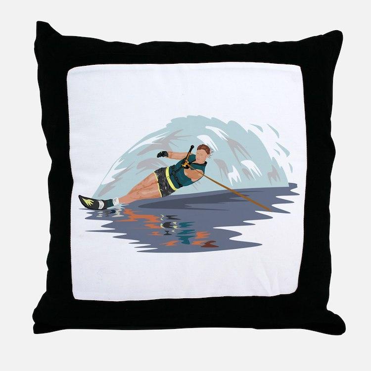 Water Skiing Throw Pillow