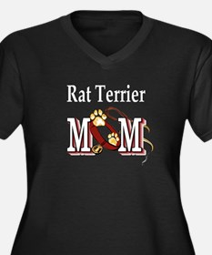 Rat Terrier Mom Women's Plus Size V-Neck Dark T-Sh