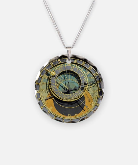 Prague Astronomy Clock Necklace Circle Charm