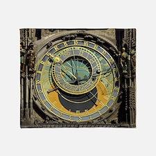 Prague Astronomy Clock Throw Blanket