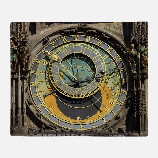 Prague Astronomy Clock Throw Blanket