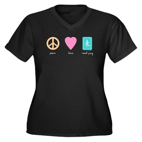 Peace Love Mahjong Women's Plus Size V-Neck Dark T