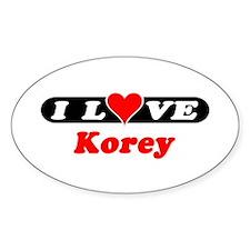 I Love Korey Oval Decal