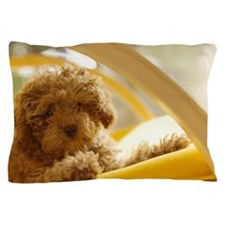 Poodle puppy on yellow chair Pillow Case