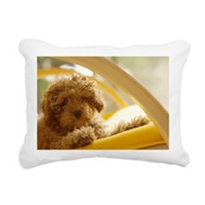 Poodle puppy on yellow c Rectangular Canvas Pillow