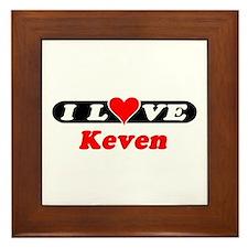 I Love Keven Framed Tile