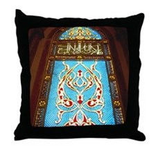 Stained glass window in mosque Throw Pillow